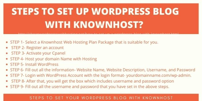 HOW TO STEPS TO SET UP WORDPRESS BLOG WITH KNOWNHOST